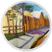 Country Village Round Beach Towel