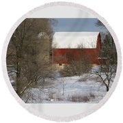 Round Beach Towel featuring the photograph Country Winter by Ann Horn