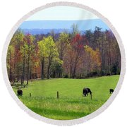Round Beach Towel featuring the photograph Countryside In Spring by Kathryn Meyer