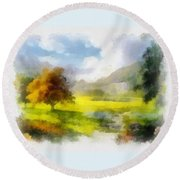 Round Beach Towel featuring the painting Countryside Rural Landscape by Maciek Froncisz