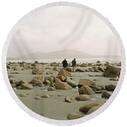 Couple And The Rocks Round Beach Towel by Rebecca Harman