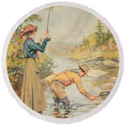 Couple Fishing On A River Round Beach Towel