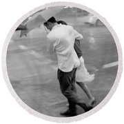 Couple In The Rain Round Beach Towel