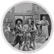Coureurs De Bois, Engraved By G.e. Johnson, Illustration From Canadian Voyageurs On The Saguenay Round Beach Towel