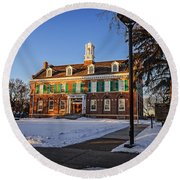 Court House In Winter Time Round Beach Towel