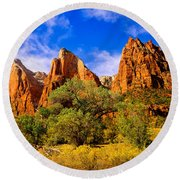 Court Of The Patriarchs Round Beach Towel by Greg Norrell