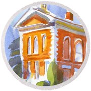 Courthouse In Early Morning Sunshine II Round Beach Towel
