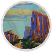 Courthouse Rock In Sedona Round Beach Towel