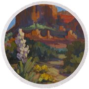 Courthouse Rock Sedona Round Beach Towel