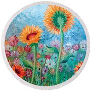 Courting Sunflowers Round Beach Towel