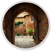 Courtyard Of Cathedral Of Ste-cecile In Albi France Round Beach Towel