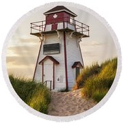 Covehead Harbour Lighthouse Round Beach Towel