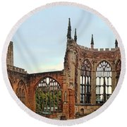 Coventry Cathedral Ruins Panorama Round Beach Towel