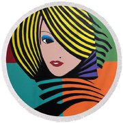 Cover Girl Round Beach Towel