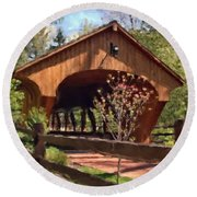 Covered Bridge At Olmsted Falls-spring Round Beach Towel