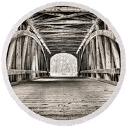 Covered Bridge B N W Round Beach Towel