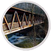 Covered Bridge In Roswell Round Beach Towel
