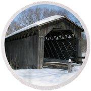 Covered Bridge In Winter Round Beach Towel