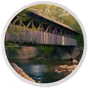 Round Beach Towel featuring the painting Covered Bridge by Jeff Kolker