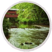 Covered Bridge Over French Creek Round Beach Towel