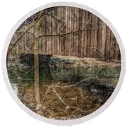 Covered Bridge Snowy Day Round Beach Towel by Susan Maxwell Schmidt