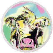 Cow- Happy Cow Round Beach Towel