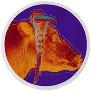 Cow Pop Art Round Beach Towel