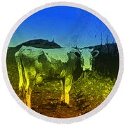 Round Beach Towel featuring the digital art Cow On Lsd by Cathy Anderson