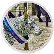 Cow Parade N Y C  2000 - Live Stock Cow Round Beach Towel by Allen Beatty