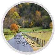 Cow Pasture With Scripture Round Beach Towel