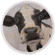 Cow Portrait I Round Beach Towel