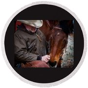 Round Beach Towel featuring the photograph Cowboy And His Horse by Steven Reed