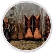 Cowboy Boots And Wood Round Beach Towel