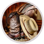 Round Beach Towel featuring the photograph Cowboy Gear by Olivier Le Queinec