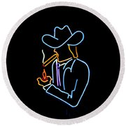 Cowboy In Neon Round Beach Towel by Art Block Collections