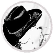 Cowboy Round Beach Towel by Jennifer Muller