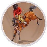 Cowboy On A Bucking Horse Round Beach Towel
