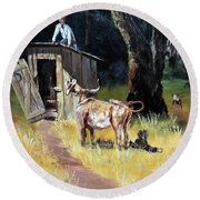 Cowboy On The Outhouse  Round Beach Towel