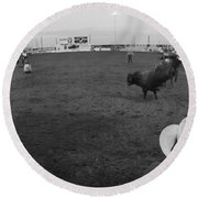 Cowboy Riding Bull At Rodeo Arena Round Beach Towel