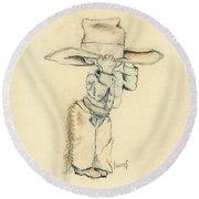 Cowboy Round Beach Towel