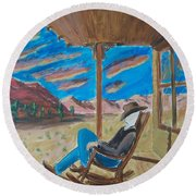 Cowboy Sitting In Chair At Sundown Round Beach Towel