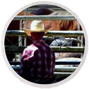 Round Beach Towel featuring the photograph Cowboys Corral by Susan Garren