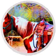 Cowgirl Up Round Beach Towel