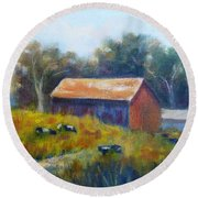 Cows By The Barn Round Beach Towel