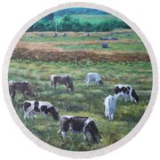 Cows In A Field In The Devon Countryside Round Beach Towel