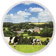 Cows In A Pasture In Brittany Round Beach Towel