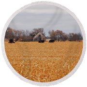 Cows In The Corn Round Beach Towel by Mary Carol Story