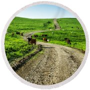 Cows On The Road Round Beach Towel