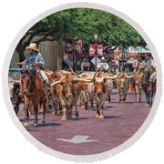 Cowtown Cattle Drive Round Beach Towel