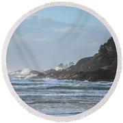 Cox Bay Afternoon Waves Round Beach Towel